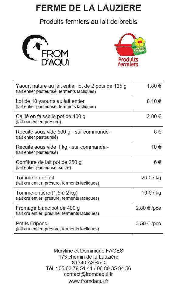 Les tarifs de nos produits